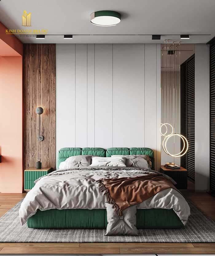 nội thất phòng ngủ sắc xanh