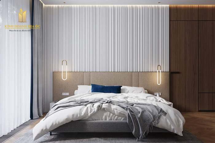 phòng ngủ với cửa sổ rộng mở