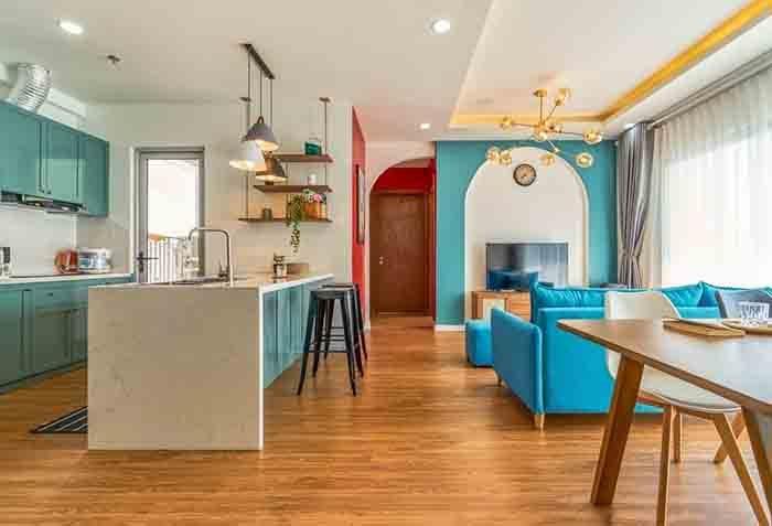 thiết kế bếp căn hộ 2 pn