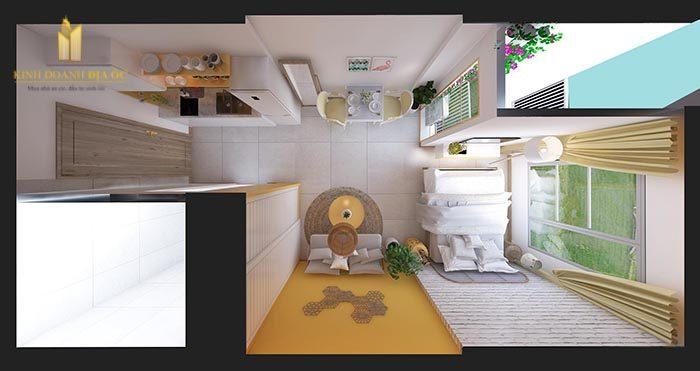thiết kế căn hộ studio the rainbow