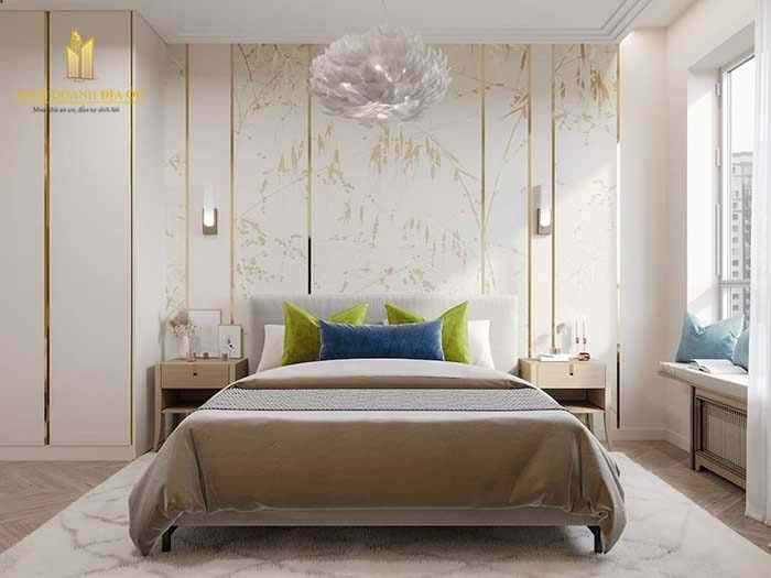 thiết kế phòng ngủ tone trắng