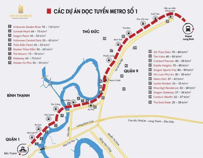 Giá căn hộ khu đông dọc tuyến Metro số 1 cho thuê