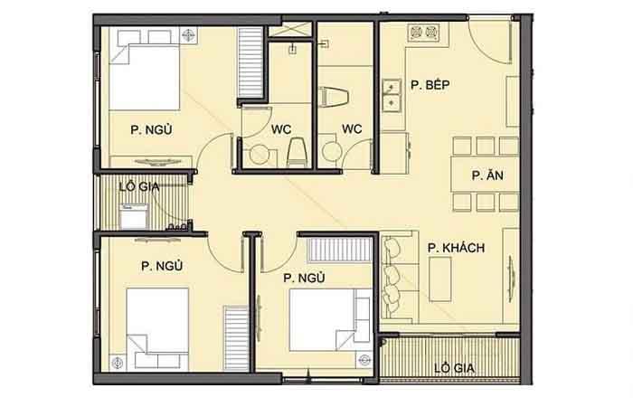 Mặt bằng căn hộ 3 phòng ngủ cho thuê