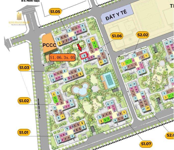 Vị trí căn hộ S1.06.3x.05 cho thuê