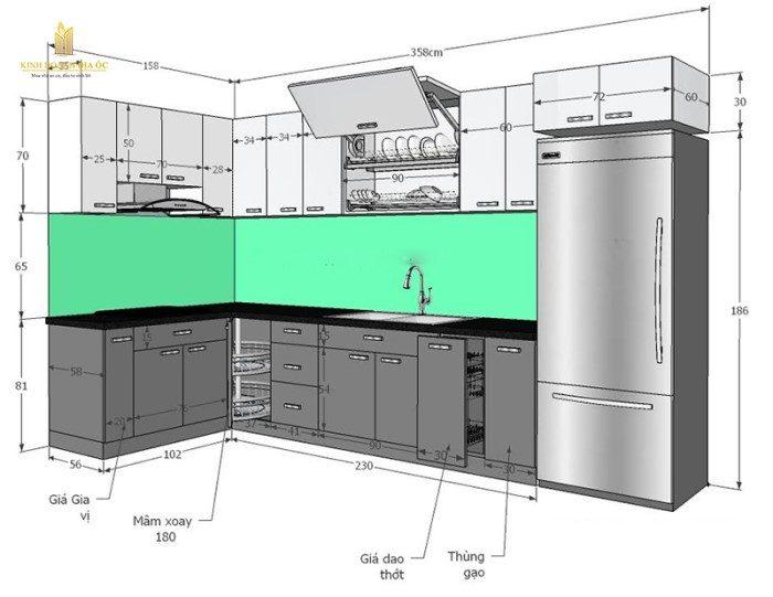 kích thước tủ bếp dưới