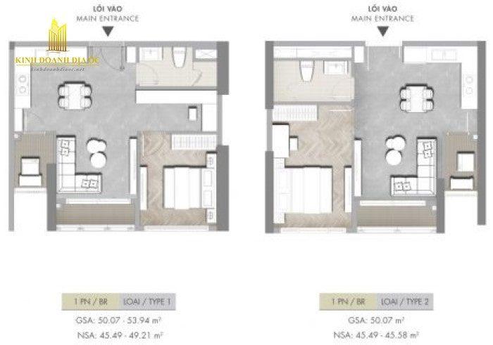 thiết kế căn hộ 1pn Masteri centre point