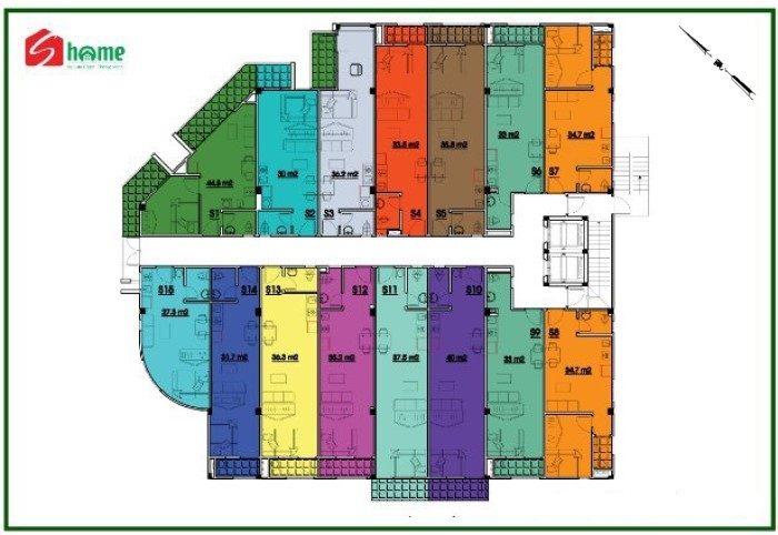 mặt bằng căn hộ S-home Tân Bình tầng 3 - 4